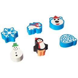 amscan Christmas-Themed Winter Fun Erasers, 12 Ct. | Party Favor