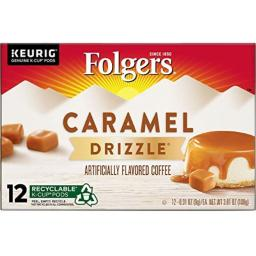 Folgers Caramel Drizzle Flavored Coffee K Cup Pods for Keurig Brewers, 12 Count