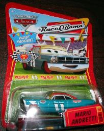 2008-2009 DISNEY PIXAR MOVIE CARS MARIO ANDRETTI RACE O RAMA CHASE PACKAGE CHASE CAR #97
