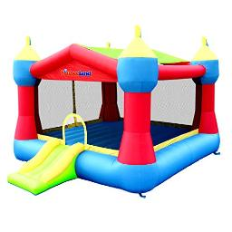 Bounceland Inflatable Party Castle Bounce House Bouncer, 16 Ft L X 13 Ft W X 103 Ft H, Basketball Hoop, Removable Sun Roof, Ul Strong Blower Included, Fun Slide And Bounce Area, Castle Theme For Kids