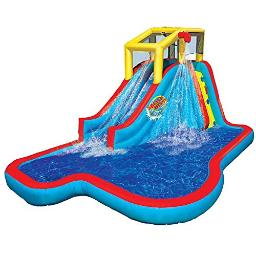 Banzai Ban35076 Slide N Soak Splash Park Inflatable Outdoor Kids Water Park Play Center With Slides, Pool, And Air Blower Motor