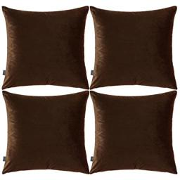 4 Pack Soft Velvet Cushion CoversComfortable Decorative Square Throw Pillow Covers for Sofa Bedroom Couch 18 x 18 Inch 45 x 45 cm(Cover OnlyNo Insert) (Coffee)