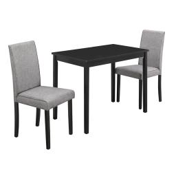Offex OFX-503680-MO Home Kitchen 3 Piece Dining Set - Grey Linen Parson Chairs/Black