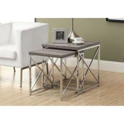 Offex OFX-284473-MO Dark Taupe Reclaimed-Look/Chrome 2 Piece Nesting Tables