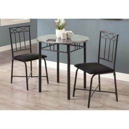Offex OFX-284431-MO Grey Marble/Charcoal Metal 3 Piece Bistro Set