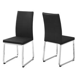 "Offex OFX-503710-MO Home Kitchen 2 Piece Dining Chair - 38""H Black Leather-Look/Chrome"