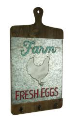 Galvanzed Finish Farmhouse Chicken Cutting Board Wall Hook