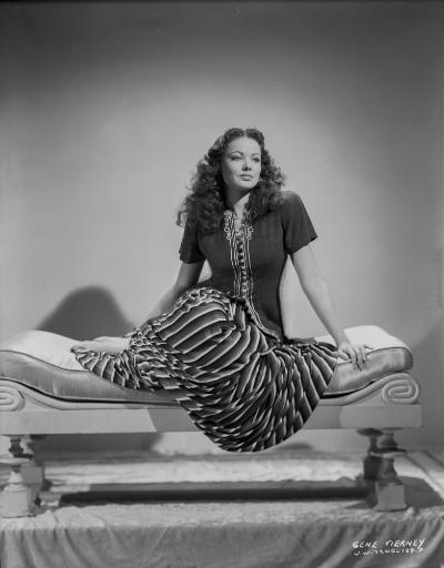 Gene Tierney Seated on Lounging Chair Photo Print