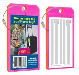 Brite I.d. Luggage Tag Virtually Indestructible Thick Neon Tag - Pink, Pack Of 2