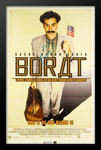 Borat Signed Movie Poster in Wood Frame with COA