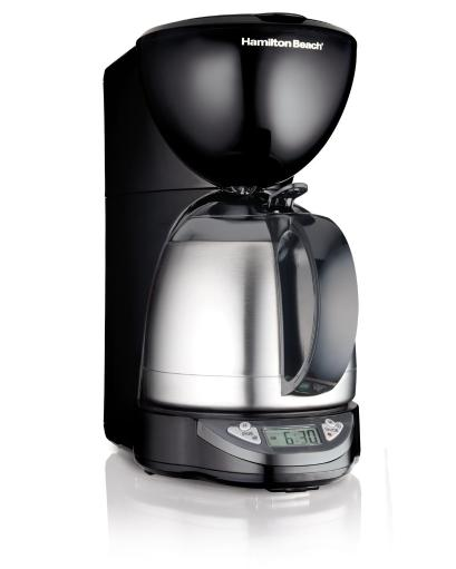 Hamilton Beach 49854 Programmable 10-Cup Coffee Maker This Thermal Coffee Maker keeps coffee tasting hot and fresh a long time. Even better, a quick press of your thumb opens the lid for drip-free pouring — no awkward handling or twisting is required.Features:.Thermal insulated carafe.Programmable timer.Pause & serve.Automatic shutoff.Large clock display