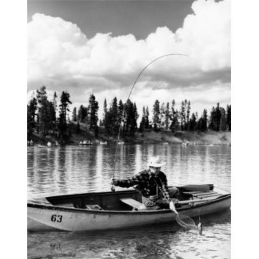 Posterazzi SAL2556171 Mid Adult Man Sitting on a Rowboat & Fishing in a Lake Poster Print - 18 x 24 in.