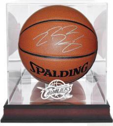 Lebron James Signed Basketball in NBA Cavaliers Display Case
