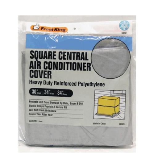 Frost King Cc32xh Air Conditioner Covers, 34  X 34  X 30  .Highlights:.Heavy-duty.Reinforced 9mm .Polyethylene protects central air conditioning unit from damage by rain, snow, and dirt.Will not crack or mildew.Elastic straps provide secure fit.Reusable annually.