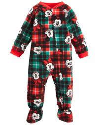 Ame Infant Boys Fleece Mickey And Minnie Mouse Footed Pajama