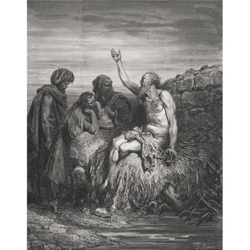 Engraving From The The Dore Bible Illustrating Job VI 1 To 4 Job & His Friends by Gustave Dore 1832-1883 French Artist Poster Print, Large - 26 x 34