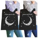 Moon And Back BFF Matching Canvas Bags Black Eco-Friendly Tote Gift