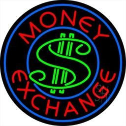 Sign Store N105-0201-clear Round Money Exchange Clear Backing Neon Sign, 26 x 26 x 1 In.