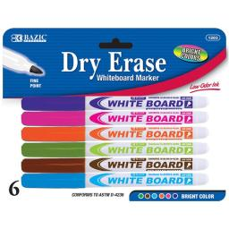 Bazic Assorted Color Fine Tip Dry Erase Marker, Whiteboard Pens Markers Marcador Rainbow Colors, School Office Home (6/P