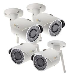 Q-See QCW3MP1B16-4 Bullet Wifi Camera with 16 GB SD Cards, Pack of 4