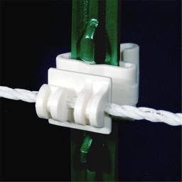 Powerfields R-CT-25 T-Post Claw Insulator White Bag of 25