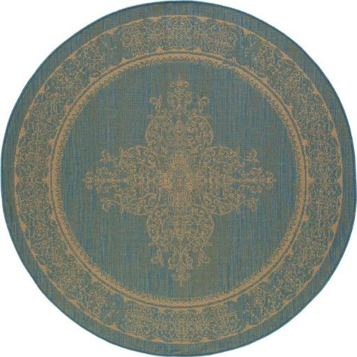 Art Carpet 29304 7 ft. Plymouth Collection Nest Flat Woven Indoor & Outdoor Round Area Rug, Blue