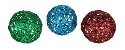 Set of 3 Metallic Woven Wire Decorative Balls 4.5 Inch Diameter