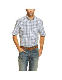 Ariat Western Shirt Mens Short Sleeve Gadget Plaid S White 10017086