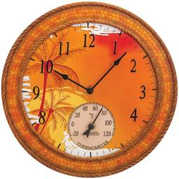 SPRINGFIELD 92671 14 Poly Resin Clock with Thermometer (Mosaic Palms)
