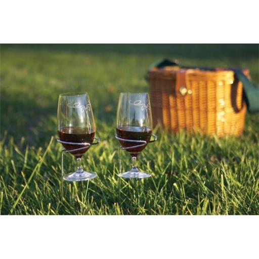 Picnic Plus PSM-160 Stainless Steel Wine Glass Holders - Set Of 2