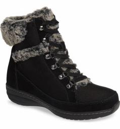 Aetrex Womens Fiona Suede Almond Toe Ankle Cold Weather Boots