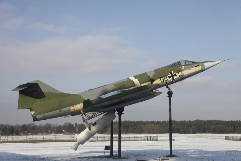 A preserved F-104G Starfighter with booster rockets pack to avoid damaged runway take-offs, Gatow Airfield, Germany Poster Print
