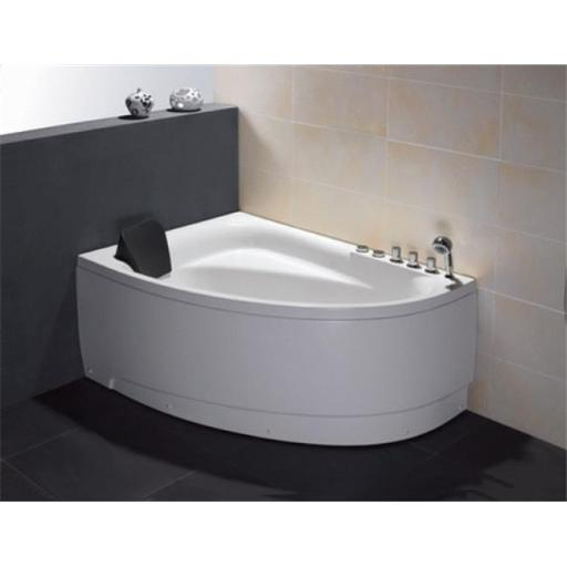 5 ft. Single Person Corner White Acrylic Whirlpool Bath Tub - Drain on Right