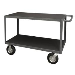 Durham RIC-2448-2-95 14 Gauge Tubular Push Handled Shelf Rolling Instrument Cart with 2 Shelves & All Lips down, Gray - 24 x 36 x 55.38 in. RIC-2448-2-95