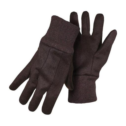 Boss Manufacturing 7798937 Mens Indoor & Outdoor Cotton Polyester Jersey Brown Work Glove, Small - Pack of 12