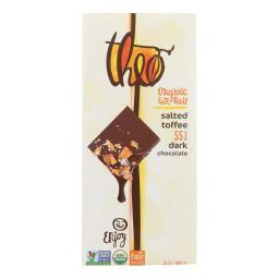 Theo Chocolate Salted Toffee - 55 Percent Dark Chocolate - Case of 12 - 3 oz.