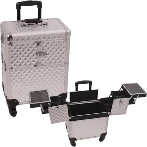 Sunrise E6304DMSL Silver Diamond Rolling Beauty Case 7YHMNUOVFUD8KSEQ