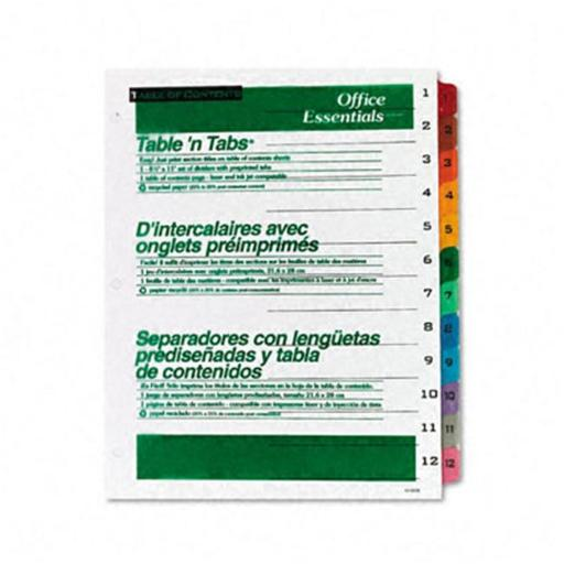 Avery 11673 Office Essentials Table N Tabs Dividers 12 Multicolor Tabs 1-12 Letter Set