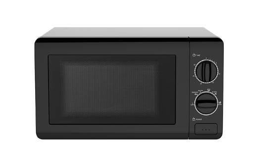 0.7 CF Manual Microwave Oven- Black 0.7 CF Microwave 700 Watts of Cooking Power Easy to Use Basic Design Rotary Dial Knob Controls 30 Minute Cooking Timer Full Range Temperature Control (Low - High) Defrost Setting Turntable with Glass Tray Push Button Door Release White Cavity