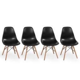 Belleze Set of (4pc) Black - Dowel Mid Century Style Side Chair Natural Wood Legs