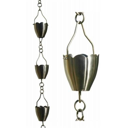 Patina Products 8.5ft. Brushed Stainless Steel Flower Cup Rain Chain R267