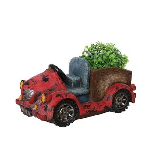 NorthLight 14.5 in. Distressed Red Vintage Car LED Lighted Solar Powered Outdoor Garden Patio Planter