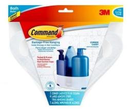 Command Bath12-es Corner Caddy With Water Resistant Strips, Clear Frosted