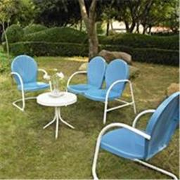 Crosley Furniture KO10001BL Griffith 4 Piece Metal Outdoor Conversation Seating Set - Loveseat and 2 Chairs in Sky Blue Finish with Side Table in Whit