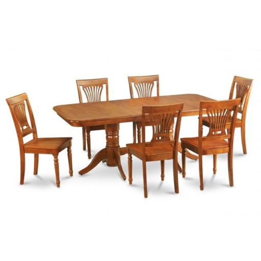 East West Furniture NAPO5-SBR-W 5 Piece Dining Room Set For 4 Dining Table With A Leaf and 4 Dining Room Chairs
