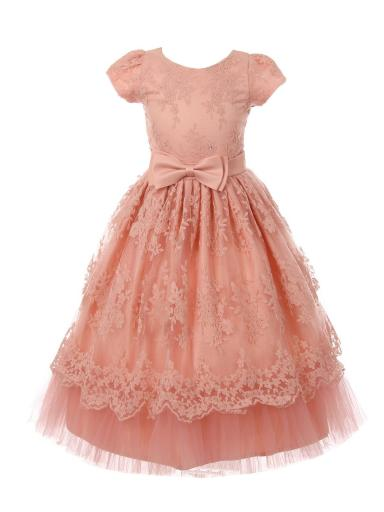 Big Girls Rose French Chantilly Lace Bow Accent Junior Bridesmaid Dress 8-12
