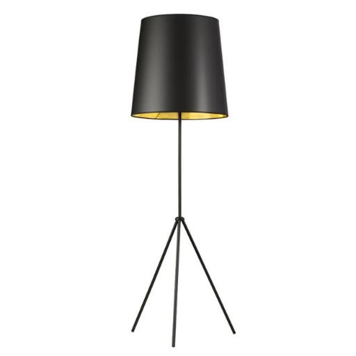 1 Light 3 Leg Oversize Drum Floor Lamp with Black-Gold Shade, Matte Black finish