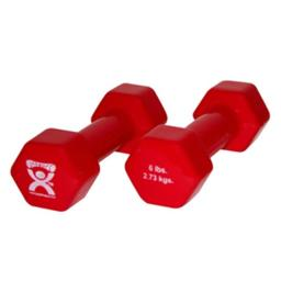 Cando Cando-10-0555-2 6 Lbs Vinyl Coated Dumbbell, Red - 1 Pair