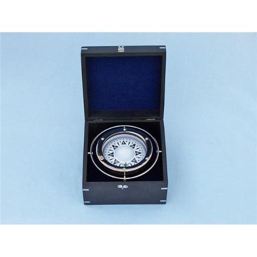 Handcrafted Model Ships CO-0524-CH Chrome Gimbal Compass with Black Rosewood Box, 9 in.