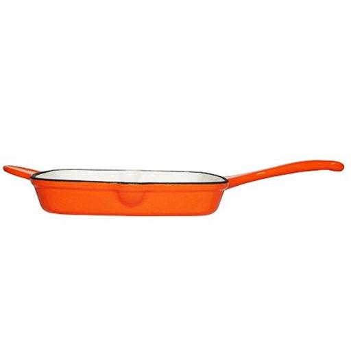 Fancy Cook Enamel Cast Iron Orange Square Grill Pan - 10.5 in.